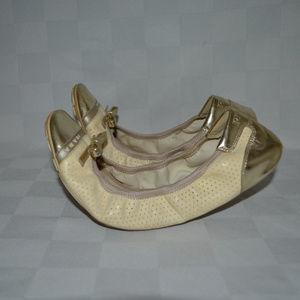 Sz 38 7.5 Prada Cream Gold Ballet Flats